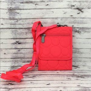 Thirty-One Hot Pink Nylon Travel Crossbody/Wallet